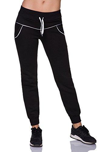 FUTURO FASHION - Pantalon de sport - Tapered - Femme noir noir/rose noir/blanc