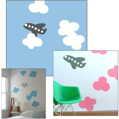 Blik Stickers muraux nuages et avion Rose