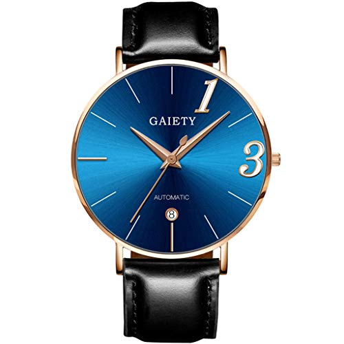 Räumung Uhr FGHYH Männer Armbanduhr Fashion Couple Watch Leather Strap Line Analog Quartz Ladies Wrist Watches Gift Armbanduhr Uhr(Blau)