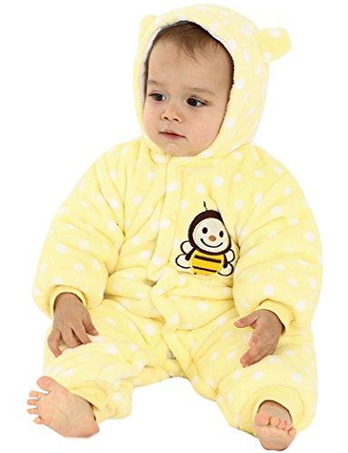 Minetom Baby Overall Strampler Winterjacke Onesie Unisex Cartoon Baby Strampelanzug mit Kapuze 9 Monate Biene Gelb 80