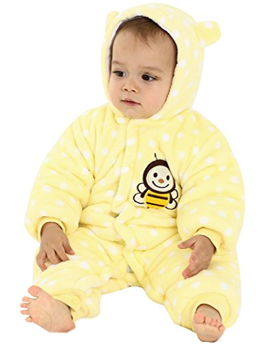 Minetom Baby Overall Strampler Winterjacke Onesie Unisex Cartoon Baby Strampelanzug mit Kapuze 9 Monate Biene Gelb (9 Kostüm Cloud Halloween)