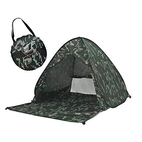 Simanli Atmungsaktiv Zelt Wasserdicht Wurfzelt Anti UV, Pop Up Strandmuschel UV Schutz für 2-3 Personen Outdoor Aktivitäten Wandern Camping Reisen Beach Angeln oder Garten. (Army Green Camouflage)