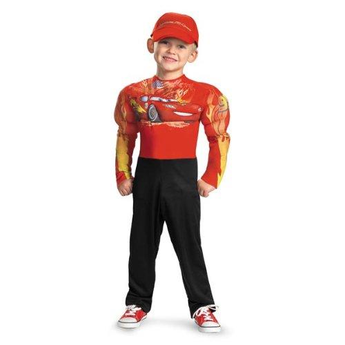 DISNEY CARS - Lightning McQueen Kinderkostüm - Kostüm Deluxe mit Muskeln & Mütze - Gr. 122-128 (US ()