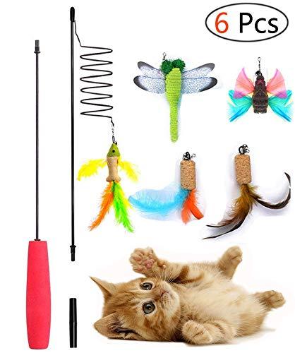 Umiwe Katzen Interaktives Spielzeug, 6 Stück Katzenspielzeug Katze Spielzeug Interaktive Feder Teaser Stab Spielzeug Set mit 5 Nachfüllfedern Catcher für Katzen Kitten (6 Pcs) (E-stab-refill)