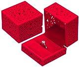 POLOFO - Joyero de Terciopelo para Anillo de Compromiso, Regalo de Boda, Color Rojo