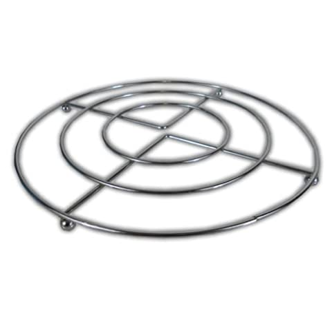 20cm Chrome PAN STAND -Trivet Metal Wire Frame Pot Holder, For Pans, Casserole Dishes & Ovenware INCLUDES 'Smiley Face' Magnet