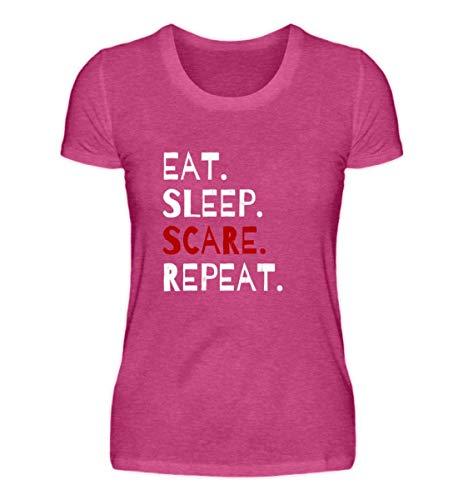 Shirtee Eat Sleep Scare Repeat - Diabolischer Spaß am Erschrecken und Fürchten zu Halloween - Damen Premiumshirt