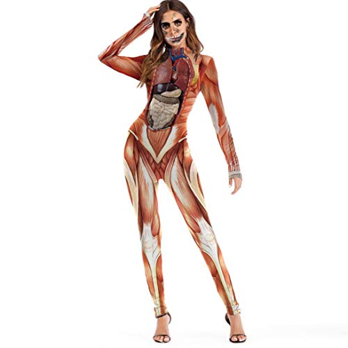 URSING Damen Scary Halloween 3D Schädel Viscera Blut Print Bodycon Party Cosplay Kostüm Overall Jumpsuits Catsuit mit Skelett Aufdruck Bodysuit Langarm Playsuit Body Clubwear ()