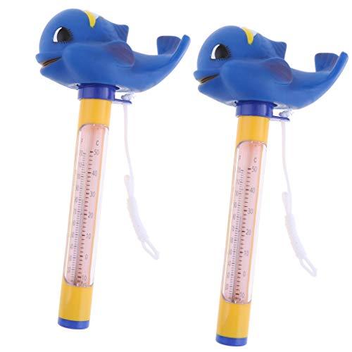 B Blesiya 2pcs Thermometer Analog mit Schnur für Pool/Teich/Schwimmbad mit süßem Tierfigur