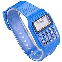 Reloj - SODIAL(R)Reloj electronico de silicona de multifuncion de calculadora para ninos y jovenes azul
