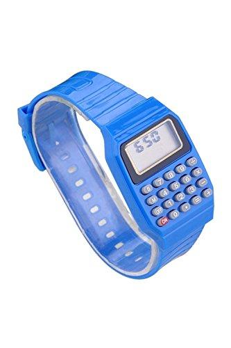 Armbanduhr - TOOGOO(R) Jungen Maedchen Silikon Datumsanzeige elektronische Uhr Multifunktions Rechner Uhr Taschenrechner Uhr fuer Kinder Blau