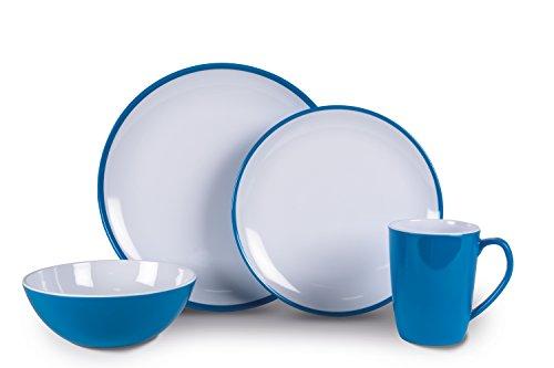Kampa Vivid Blue Summer Service de Table en mélamine 16 pièces