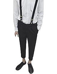BOMOVO Mono para hombre rayas verticales pantalones cónicos