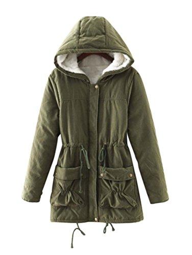 LvRao Donna Manica Lunga Calore Cappotti e Giacche Pelliccia con Cappotto Cappuccio Parka per Invernale # Army Green S
