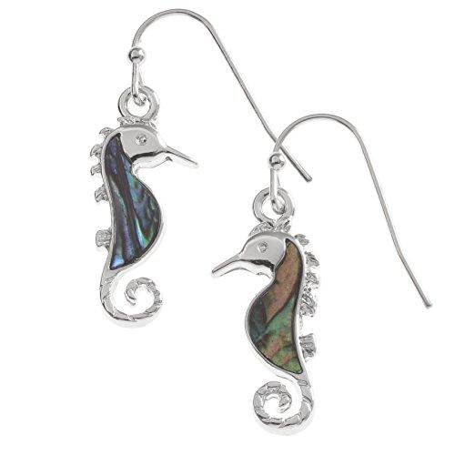 Kiara Schmuck Seepferdchen Ohrringe mit natürlichen grünlichen blau intarsiert Paua Abalone Shell. Hypoallergen nicht trüben Silber Farbe, Rhodiniert, Anlauf Geschützt.