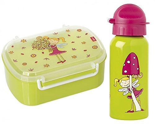 Sigikid Brotdose und Trinkflasche Florentine I inkl. Geschenkverpackung I Schulanfang I Kindergarten I Mädchen I Brotzeitbox mit Trennwand