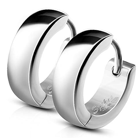 Bungsa® Silber - Ohrclips 4mm Edelstahl 1 Paar ~~ 5 FARBEN ~~ (Ohrringe Ohrschmuck Ohrklemmen Studs Damen Frauen Herren Mode (Ohrringe Männer Echt Silber)