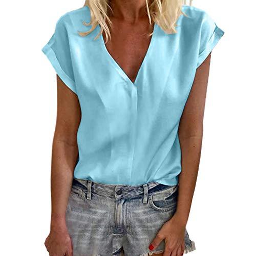 TWIFER Sommer Damen T Shirt V Ausschnitt Kurzarm Tops Lose Tee Shirts Bluse
