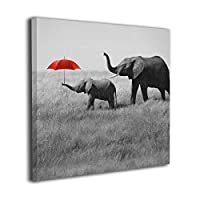 Foru-art Red Gray Elephant Baby Rain Red Umbrella Canvas Wall Art Prints,Modern Painting Photo On Canvas,Decorative Giclee Artwork Wall Decor For Home,Gallery Wrapped Ready To Hang