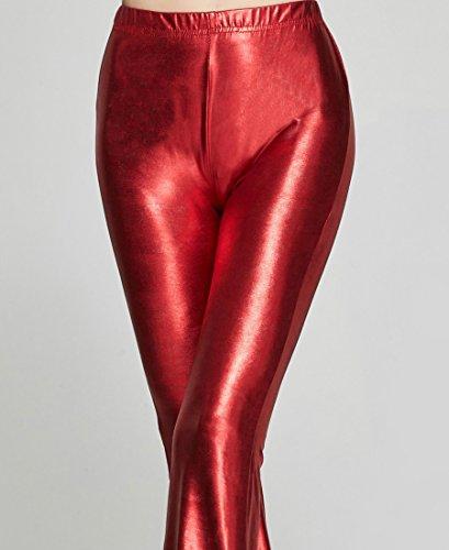 ZKOO Donne Casuali Dell'Alta Vita Bagliore Piedino Largo Di Lungo Pantaloni Pantaloni Palazzo Plus Size Rosso