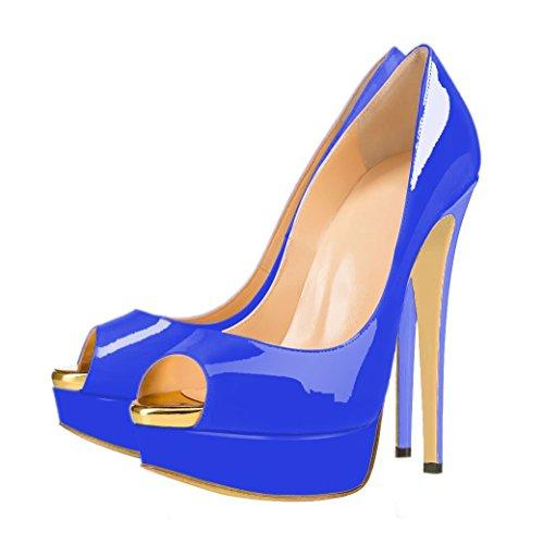 uBeauty - Femme Sandales Plateforme - Grande Taille Chaussures Open Toe - Escarpins Peep Toe Bleu