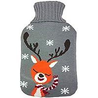 GJ Fashion Botella de Agua Caliente de Invierno de Navidad Santa Elk de Punto Botella de
