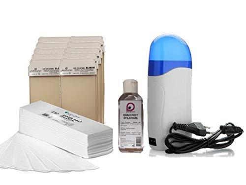 Kit EPILATION BLANC avec Chauffe Cartouches de cire +10 cartouches de cire à épiler BLANCHE +250 bandes d'épilation +1 Huile Post Épilatoire 100 ml - PUREWAX by Purenail - Offre découverte