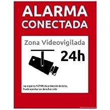 PEGATINA VINILO DE CARTEL ALARMA CONECTADA DISUASORIOS ZONA VIGILADA 24H CAMARA COLOR ROJO 24 HORAS VIDEOVIGILADA VIDEO