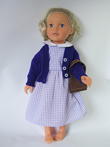 Vestido escolar a cuadros lila con chaqueta y bolsa para Designafriend y otras muñecas de 46 cm