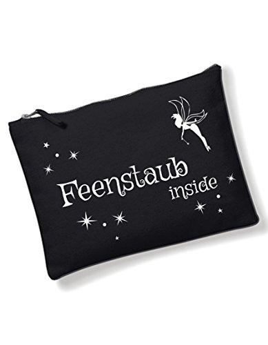 Kosmetiktasche mit coolem Spruch Feenstaub inside bedruckt / Kulturbeutel mit verschiedene Sprüche auswählbar von 3Elfen / Schwarz / Tasche / Handtasche / Waschtasche / (Gothic Make Fee Up)