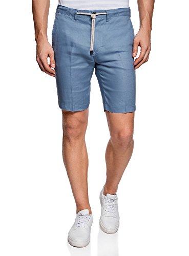 oodji Ultra Herren Leinen-Shorts mit Bindebändern Blau (7000N)