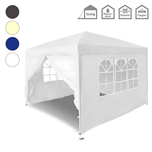 Froadp Faltpavillon 3x3m mit 4 Seitenteilen - Partyzelt Pavillon UV-Schutz - für Garten/Party/Hochzeit/Picknick,Weiß
