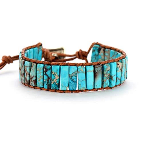 WODESHENGRI Armbänder,Mode Armband Böhmischen Armband Rohrform Naturstein Single Leder Seil Wrap Bracelet Frauen Paare Perlen Armband (Billig Easy-kostüme Paare Für)