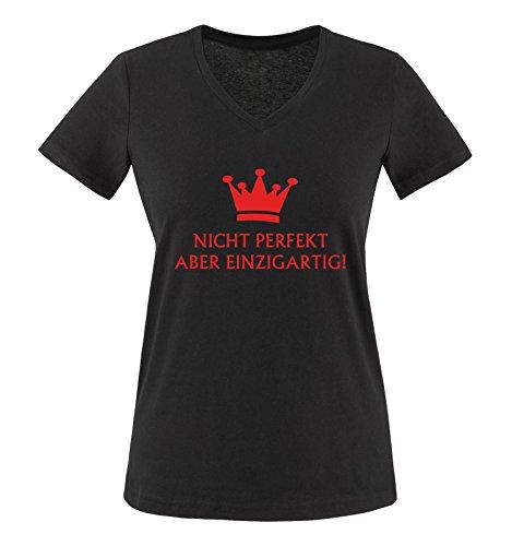 Comedy Shirts - Nicht perfekt Aber einzigartig! - Krone - Damen V-Neck T-Shirt - Schwarz/Rot Gr. M -