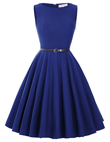 50s dress rockabilly damen sommerkleid cocktailkleider knielang baumwolle rock a linie kleid Größe M BP157-3 (Rock Nylon A-linie)