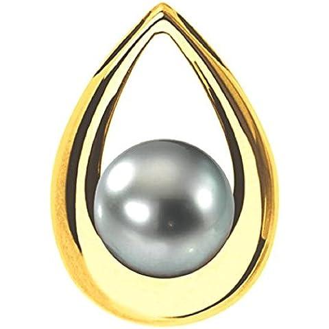 orama–Ciondolo Perla di Tahiti–Oro 18carat–Diametro della perla: 9a 10mm–Angelo