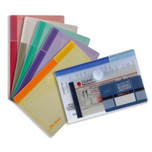 Tarifold Enveloppe porte documents à velcro A6 T Collection en PP 20/100e Transparent Sachet de 6
