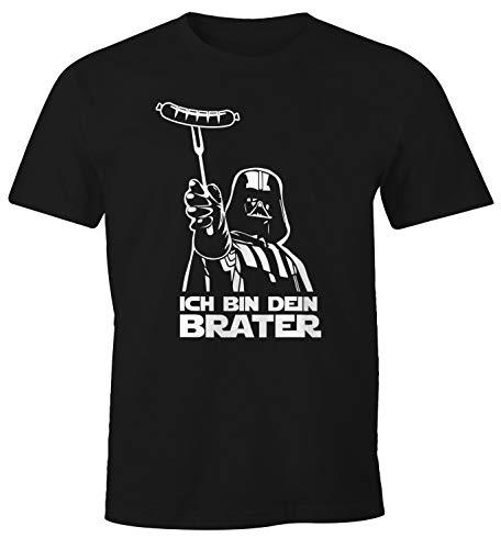 MoonWorks® Herren T-Shirt Ich Bin Dein Brater Fun-Shirt Grillen Barbecue BBQ Fleisch Parodie Nerd schwarz XXL