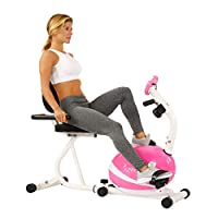 Sunny Health & Fitness Unisex Adult P8400 Magnetic Recumbent Bike - Pink, One Size