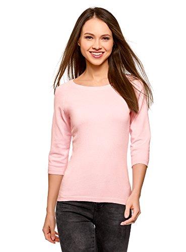 oodji Collection Damen Basic Pullover mit 3/4-Ärmel, Rosa, DE 42 / EU 44 / XL