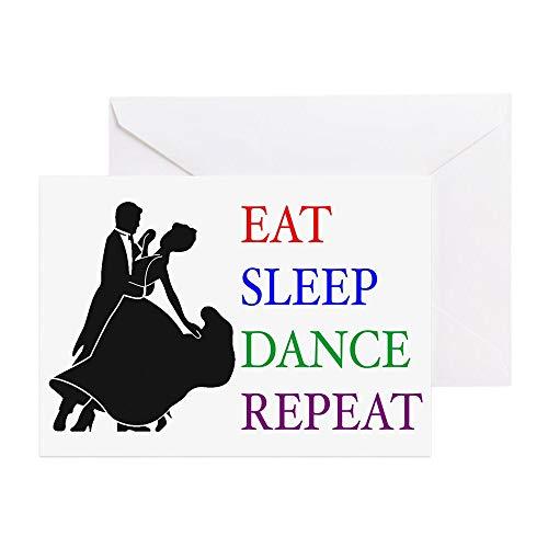 """CafePress Grußkarte""""Eat Sleep Dance"""" (englischsprachig), blanko Innenseite matt"""