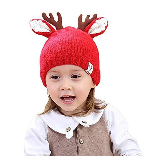 Flying.Warme Mützen Kinder Weihnachtsgeweih Rentier Strick Hut Wintermütze -