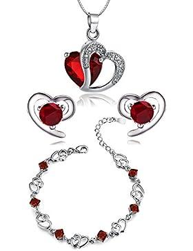 findout Amethyst rot, rosa, blau weiß Kristall-Herz Silber Anhänger Halskette + Ohrring + Armband für Frauen Mädchen...