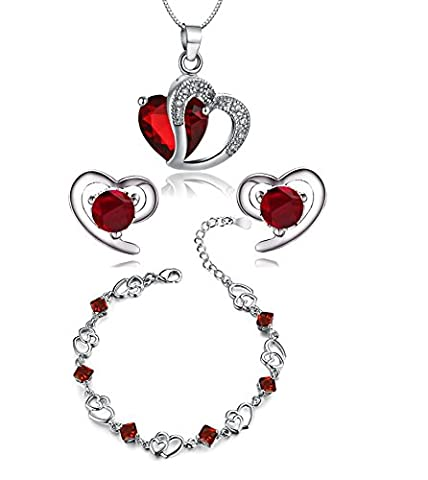 findout Amethyst red pink blue white Crystal Heart Silver pendant Necklace + earring+ bracelet set ,for women girls. (f497) (red