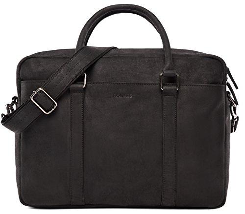 LEABAGS Istanbul Aktentasche Laptoptasche 15 Zoll aus echtem Leder im Vintage Look - Schwarz (Tasche Klein Leder Schulter Calvin)