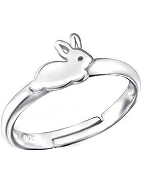 SL-Silver Mädchen Damen Ring Hase Grösse einstellbar 925 Sterling Silber in Geschenkverpackung