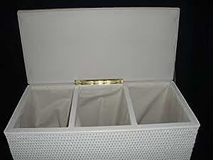 panier linge trieur avec 3 compartiments tabouret en rotin avec 3 compartiments en allemagne. Black Bedroom Furniture Sets. Home Design Ideas