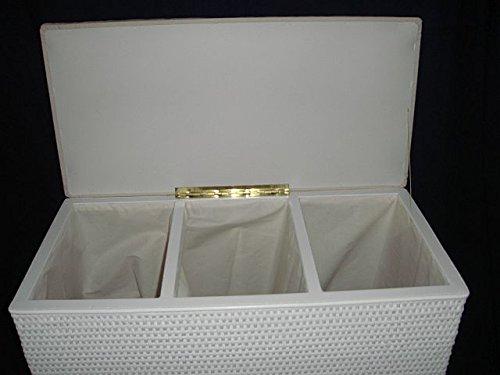 Wäschekorb 3 Fach Sortierer Sitzhocker aus Rattan weiß mit DREI Fächern Made in Germany -