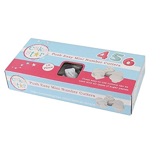 Cake Star Sugarcraft Push Easy Mini Number 0-9 Icing Cutters Set - 10 Piece