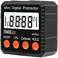 Tacklife MDP02 Digital Angle Gauge Level / Protractor Inclinometer/Stainless Steel Angle Finder with Strong Magnetic Base, Large LCD display and Protective Bag ( Handheld Size with Accuracy ±0.3°)